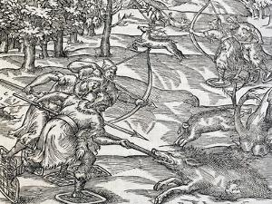 Indians Boar Hunting, Engraving from Universal Cosmology by Andre Thevet