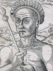 King Quoniambec, Brazil, Engraving from Universal Cosmology by Andre Thevet