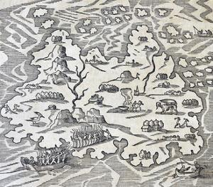Trinity Island, Engraving from Universal Cosmology by Andre Thevet