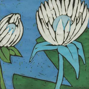 Turquoise Batik Botanical IV by Andrea Davis