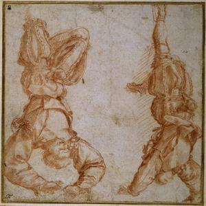 Two Studies of a Man Suspended by His Left Leg by Andrea del Sarto
