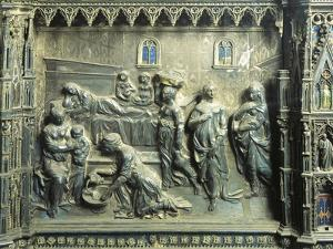 Birth of St John the Baptist, Detail from Relief of St John Baptist Altar by Andrea del Verrocchio