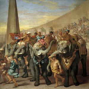 Elephants in a Roman Circus, Ca. 1640 by Andrea Di Lione
