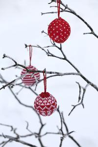 Branch in Winter with Christmas Bulbs, Cord Sample by Andrea Haase