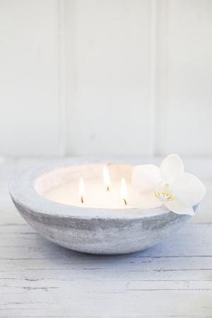 Candle Bowl with Orchid Blossom