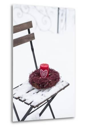 Chair in the Snow with Candle and Wreath