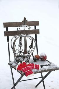 Chair in the Snow with Christmassy Still Life by Andrea Haase