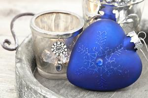 Christmas Decoration Blue Heart by Andrea Haase