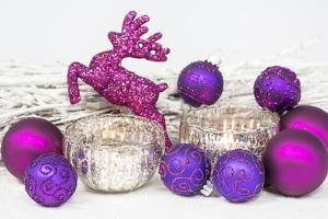 Christmas Decoration, Mauve, Pink, with Deer by Andrea Haase