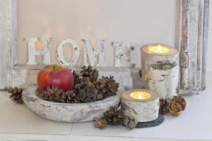 Decoration, White, Window Frame, Candles, Apple, Cone by Andrea Haase