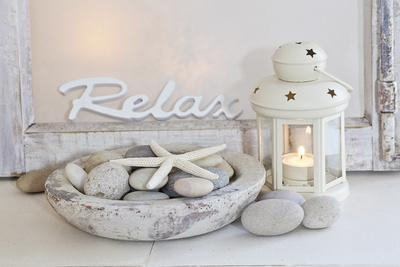 Decoration, White, Window Frame, Lettering, Relax, Lantern, Candle, Bowl, Stones, Starfish