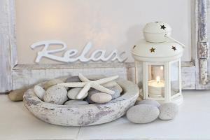 Decoration, White, Window Frame, Lettering, Relax, Lantern, Candle, Bowl, Stones, Starfish by Andrea Haase