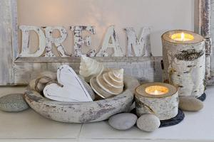 Decoration, White, Window Frames, 'Dream', Candles, Bowls, Mussels, Stones, Heart by Andrea Haase