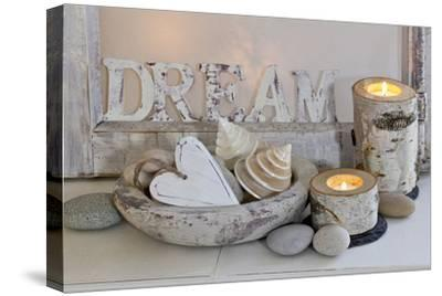 Decoration, White, Window Frames, 'Dream', Candles, Bowls, Mussels, Stones, Heart