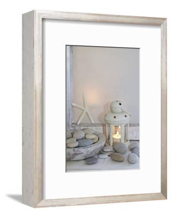 Decoration, White, Window Frames, Lantern, Candle, Bowl, Stones, Starfish