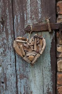 Heart Made of Driftwood, Wood, Door by Andrea Haase