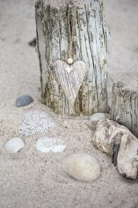 Heart, Tag, Wooden Pole, Stones, Beach, Symbol, Love by Andrea Haase