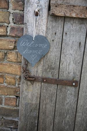 Lettered Slate Heart, Old Door, 'Welcome Home'
