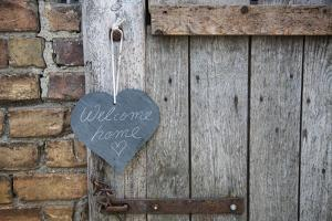 Lettered Slate Heart, Old Door, 'Welcome Home' by Andrea Haase