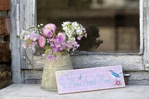 Spring Flower Bouquet in Metal Pot and Sign with Text by Andrea Haase