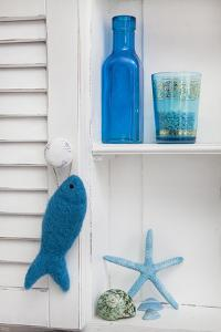 Still Life, Blue, Turquoise, Bottle, Glass, Starfish, Seashells, Fish by Andrea Haase