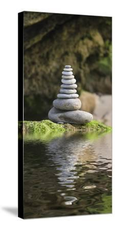 Stone Tower, Pebbles, Moss, Water