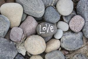 Stones, Pebble Stone with Lettering Love by Andrea Haase