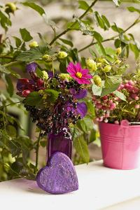 Vase, Bunch, Berries, Hop Blossoms, Flowers, Heart by Andrea Haase