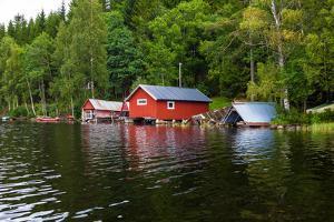 Boathouses, Gustavsfors, Lelång Lake, Dalsland, Sweden by Andrea Lang