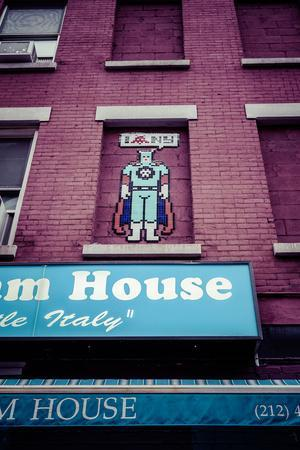 I love NY, Robot, Streetart, Mosaic on a house wall, Little Italy, Manhattan, New York, USA