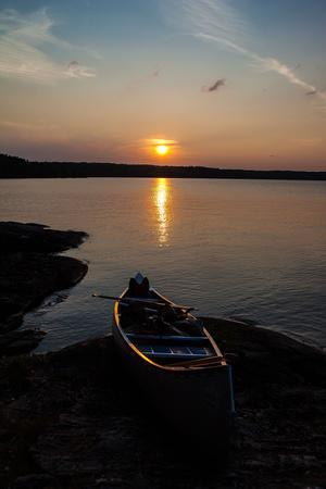 Sundown, Lelang Lake, boat, Dalsland, Götaland, Sweden