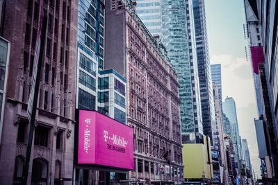 T-Mobile ad, Time Square, architecture, skyscrapers, Streetview, Manhattan, New York, USA