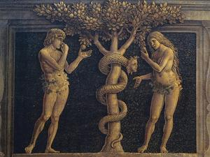 Adam and Eve Committing Original Sin, Detail from Virgin of Victory, 1496 by Andrea Mantegna