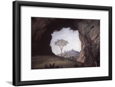 Landscape, Rock Arch Frames a Tree and City