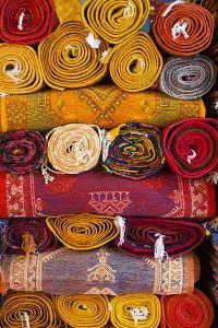 Morocco, Marrakech, Carpets in Market by Andrea Pavan