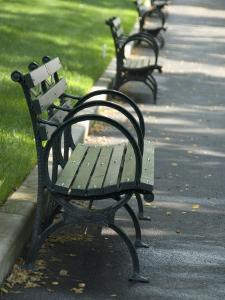 Park Benches Lined Up in a Row by Andrea Sperling