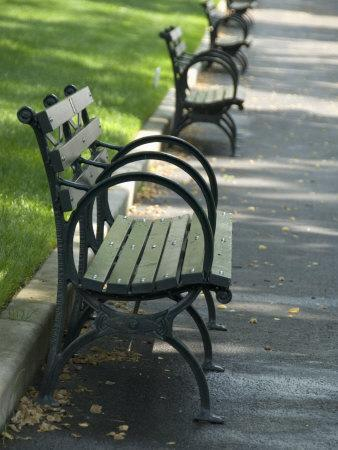 Park Benches Lined Up in a Row