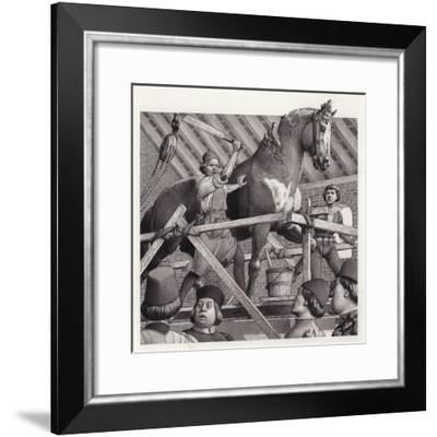 Andrea Verrocchio Smashes the Head from His Statue of a Horse--Framed Giclee Print
