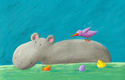 Funny Hippo, Bird and Fishes by andreapetrlik