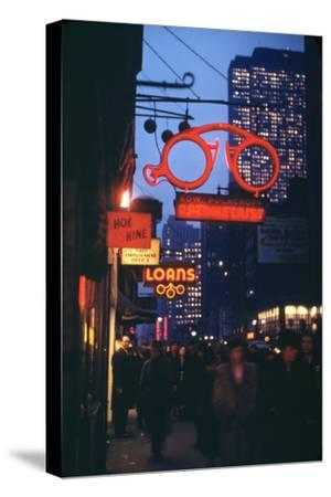 1945: Midtown Manhattan at Night with Neon Lights Advertising, New York, Ny