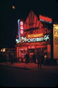 1945: Neon Lights Outside the Sportsman Cafe on 236 West 50th Street at Night, New York, NY by Andreas Feininger