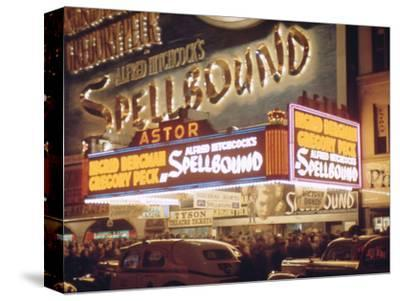 1945: the Astor Theater Marquee Advertising Alfred Hitchcock's Movie 'Spellbound', New York, Ny