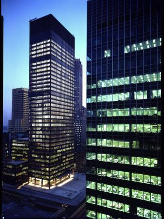 Facades of Seagram Building Designed by Ludwig Miles Van Der Rohe and Lever House by Andreas Feininger