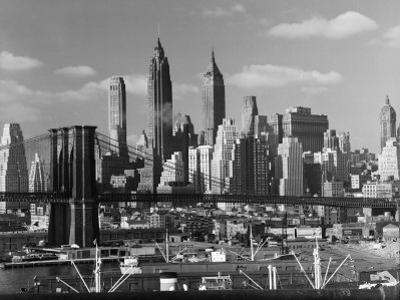 New York City Skyline and Brooklyn Bridge, 1948