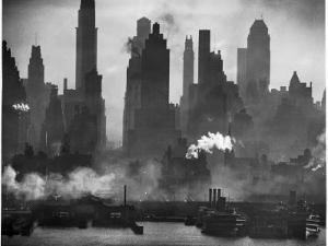 New York Harbor with Its Majestic Silhouette of Skyscrapers Looking Straight Down Bustling 42nd St. by Andreas Feininger