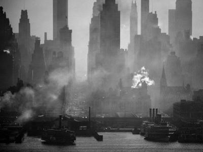 Smoggy Waterfront Skyline of New York City as Seen from the Shores of New Jersey