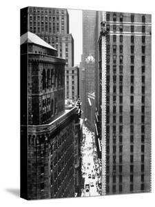 View Looking Down Past the Top of the Federal Reserve Building at Pedestrians on Nassau Street by Andreas Feininger