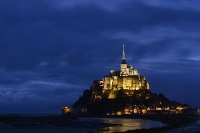 France, Lower Normandy, Manche, Mont Saint Michel by Night
