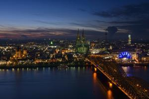 Germany, North Rhine-Westphalia, View of Cologne at Night by Andreas Keil