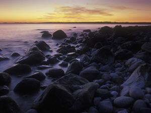 Norway, Telemark, the North Sea, Skagerag, Mšlen, Beach with Glacial Pebbles after Sunset by Andreas Keil